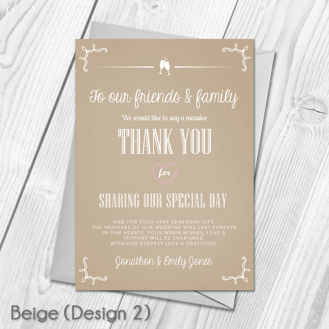 Premium Personalised Wedding Thank You Cards Wedding Guest Thanks