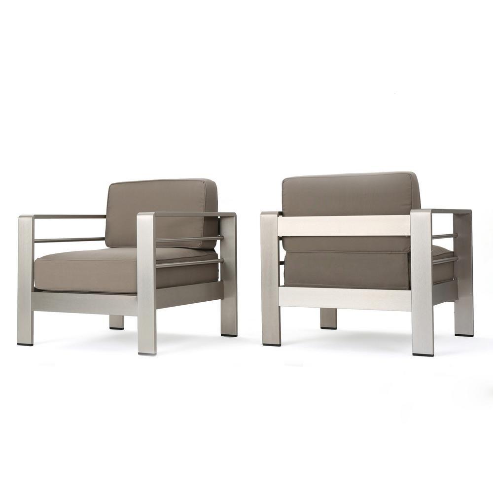 Noble House Caius Khaki 2 Piece Aluminum Deep Seating Set With Khaki Cushions Club Chairs Aluminum Patio Chair