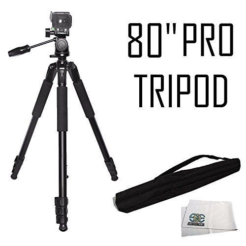 Introducing Professional 80 Inch Build In Bubble Leveling Geared Elevator Heavy Duty Aluminum Tripod Extend Tripod Microfiber Cleaning Cloths Clean Microfiber