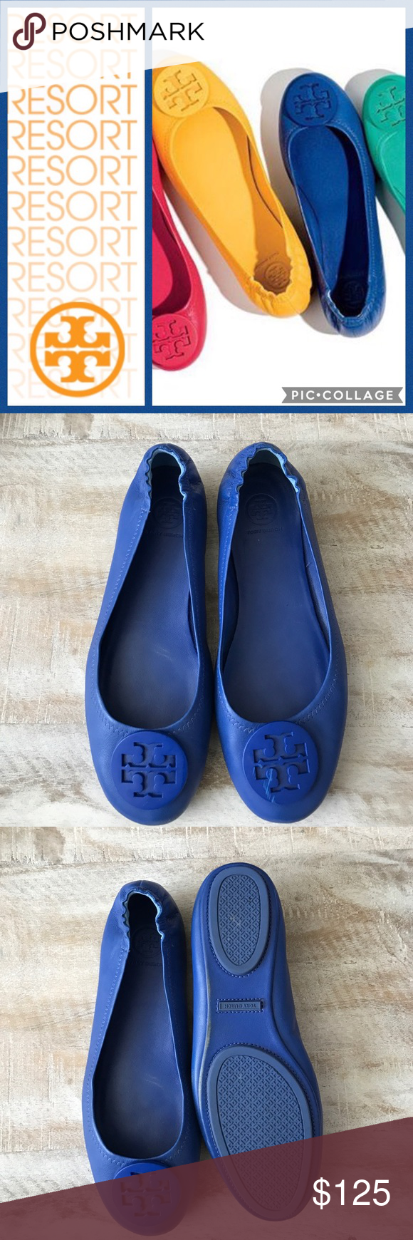 064aed4794e Tory Burch Minnie Travel Ballet Flat Blue sz 8.5 Fold. Pack. Go ...