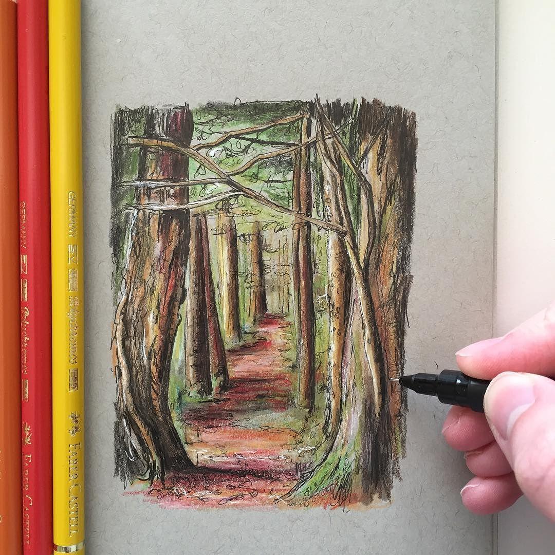 Autumn has arrived #art #drawing #pen #sketch #illustration #fabercastell #unipin #autumn #woodland