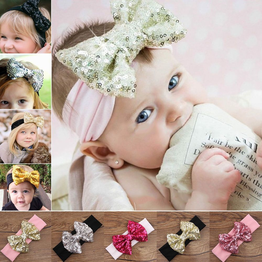 Fashion Baby Girl Hair Band Sequined Bow Headband Turban Knot Hair Accessory