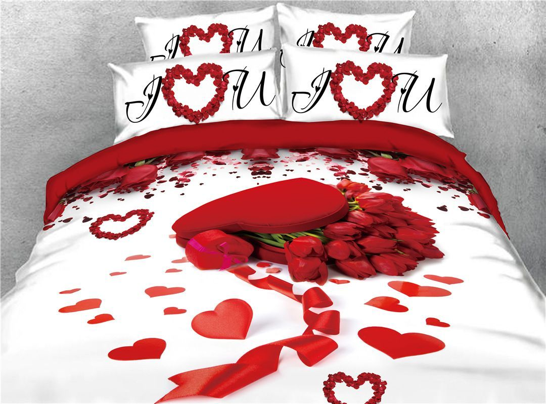 72 18 Red Rose And Heart Shape Printed Romantic 4 Piece 3d Bedding Sets Duvet Covers Floral Bedding Sets Red Duvet Cover Bedding Sets