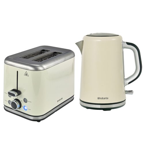 2 Slice Breakfast Toaster And Kettle Set Brabantia Colour Almond