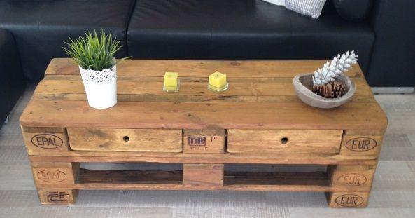 wundersch ner couchtisch mit 2 schubladen aus paletten palettenm pinterest. Black Bedroom Furniture Sets. Home Design Ideas