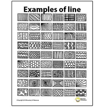 Line Pattern Handout One Page Elements of Art Principles ...