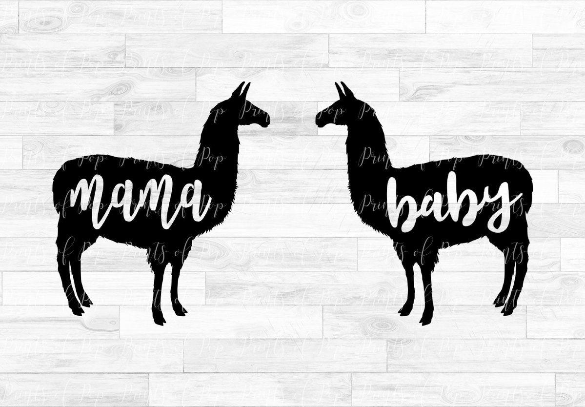 Mama Llama and Baby Llama svg dxf png Clip Art | Baby ...