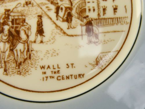 P920 SYRACUSE CHINA -- VIEW OF WALL STREET 17TH CENTURY small plate | eBay