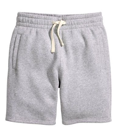 Gray. Knee-length shorts in sweatshirt fabric with elasticized ...