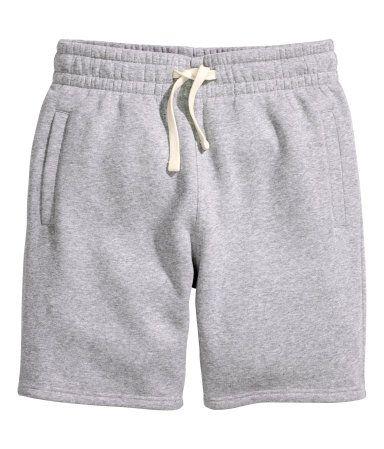 Gray. Knee-length shorts in sweatshirt fabric with elasticized ...