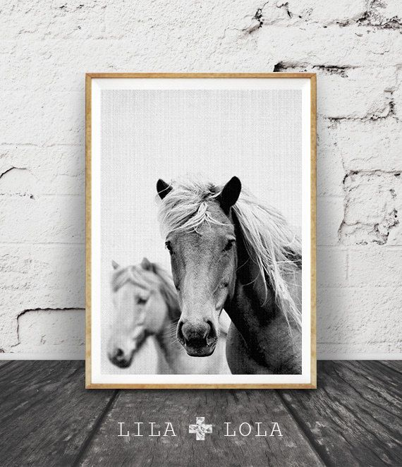 Horse Print Large Printable Wall Art Black and White Photography