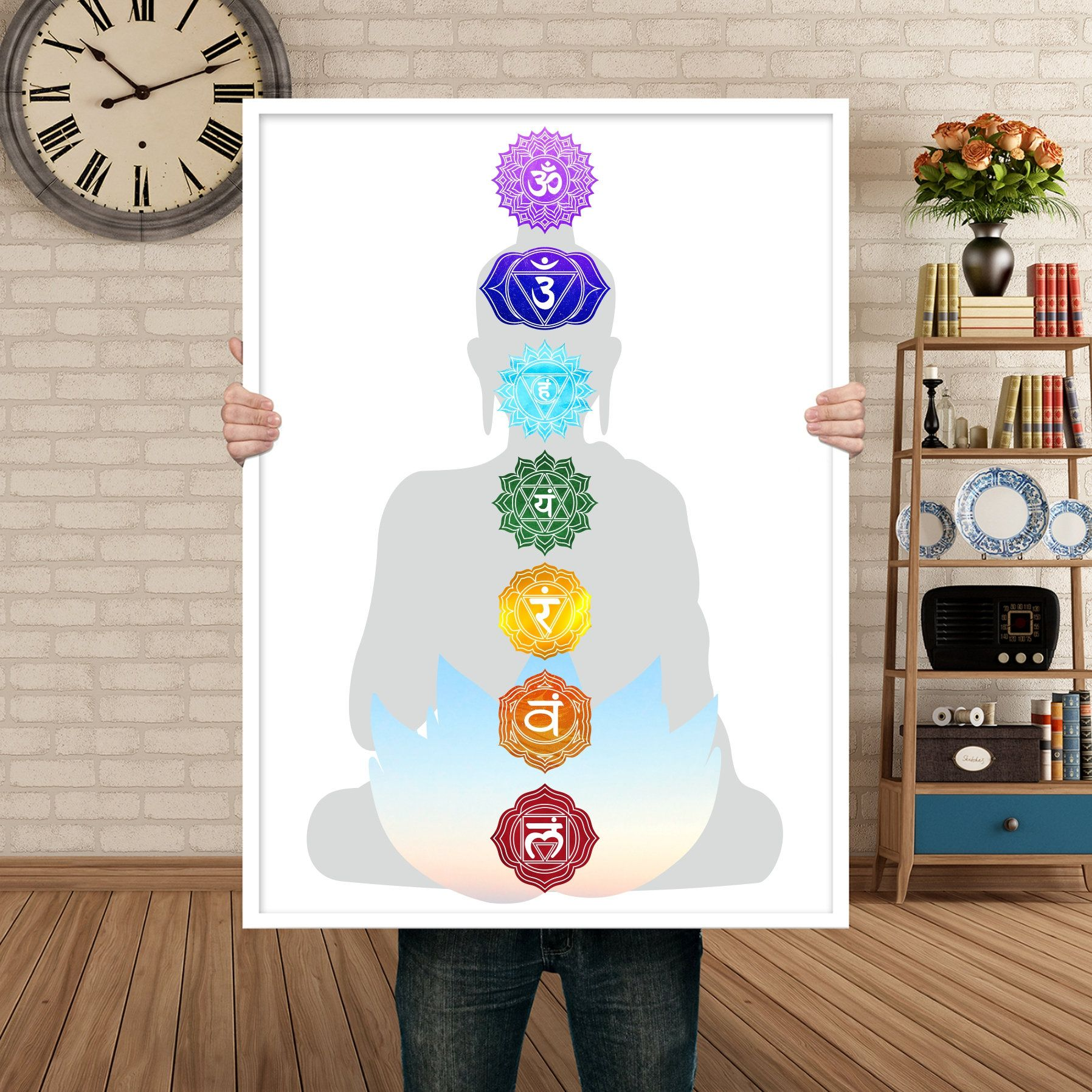 Buddha Print Wall Art, Chakra Poster, Lotus Décor, Meditation Tool, Yoga Studio Decor, Yoga Wall Décor, Buddha Decor, Meditation Wall Decor #buddhadecor