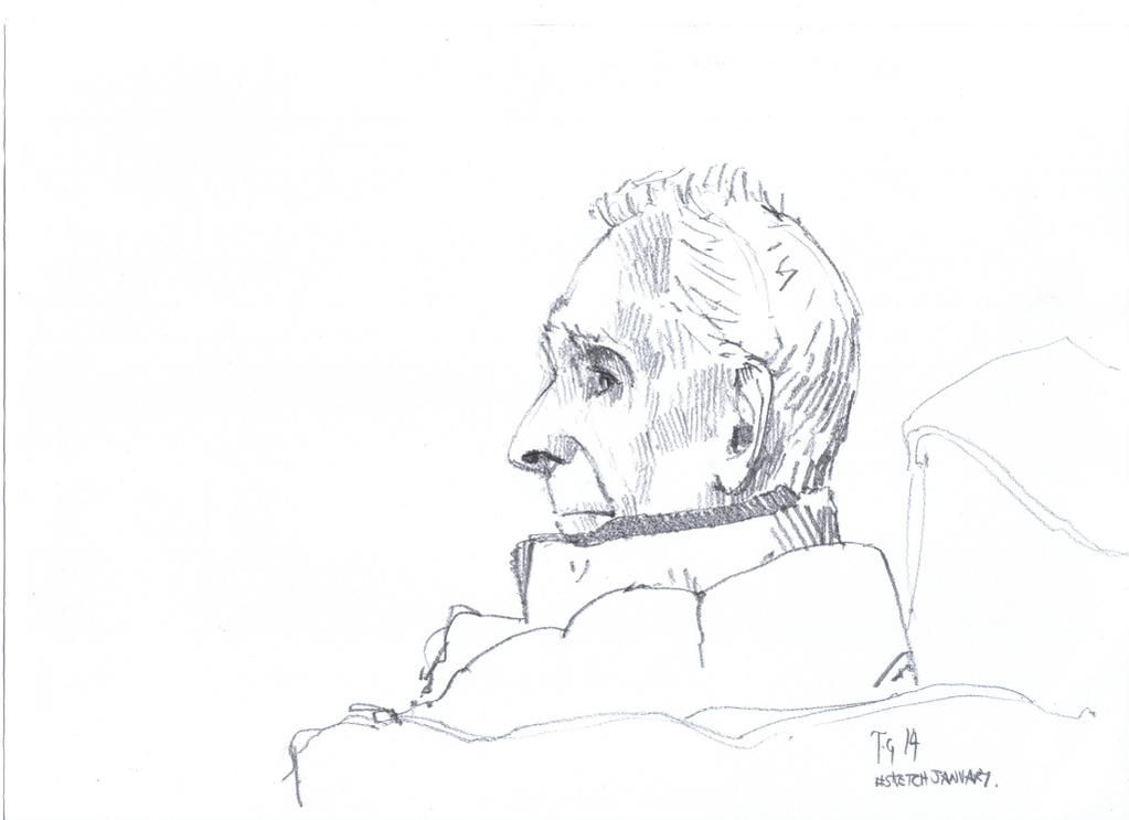 #sketchjanuary #thedailysketch Quick pencil sketch of my wife's Grandad relaxing this afternoon. :}>