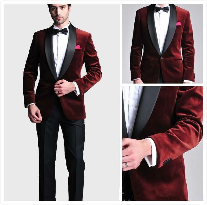 Burgundy Velvet Slim Fit 2016 Groom Tuxedos Wedding Suits for men ...