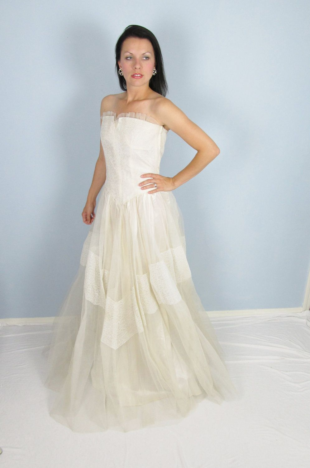 Vintage 1950\'s White Tulle Lace Wedding Dress M/L Couture Party ...