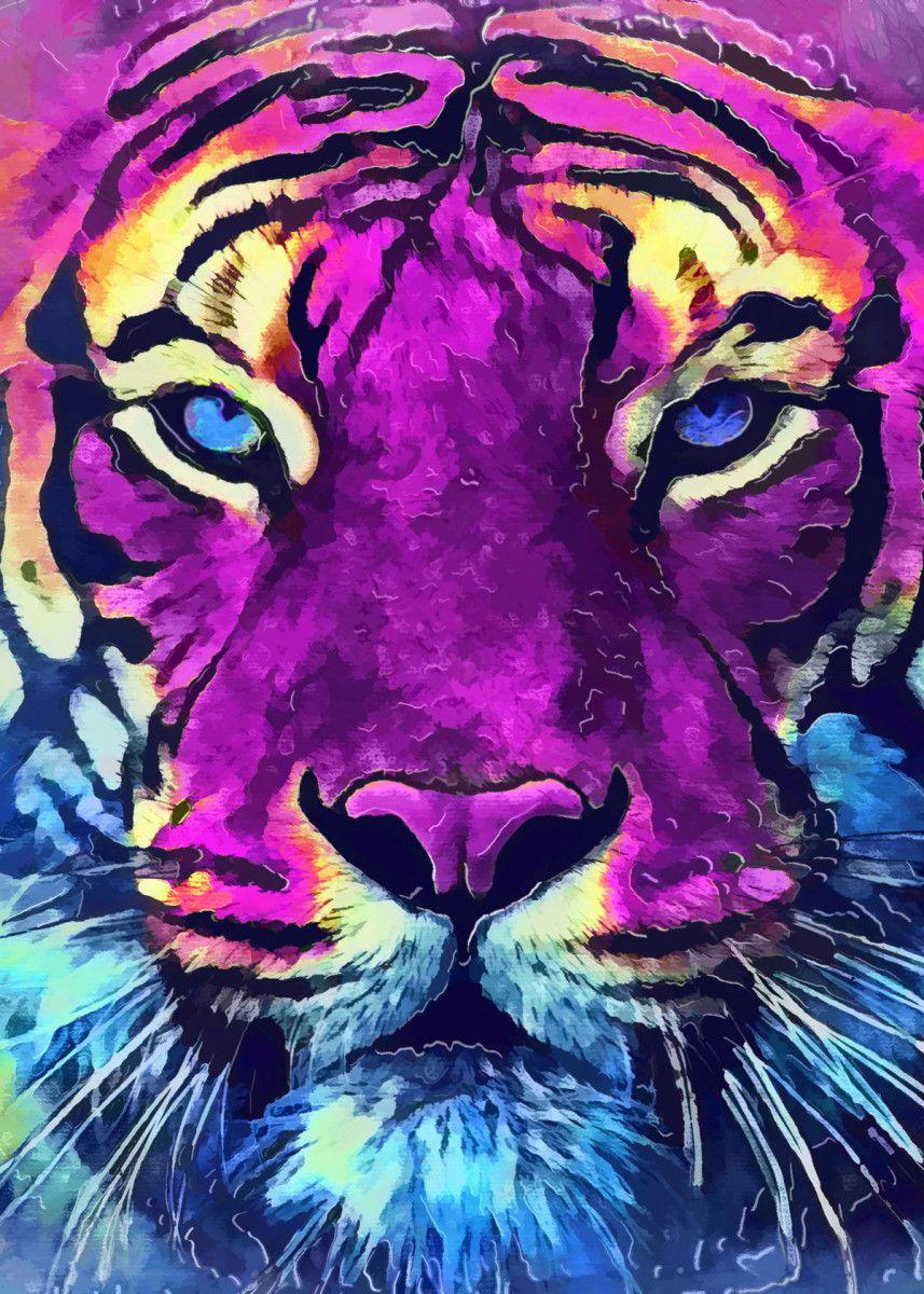Tiger Spirit Poster Print By Justyna Jaszke Displate In 2020 Tiger Painting Tiger Art Tiger Spirit Animal