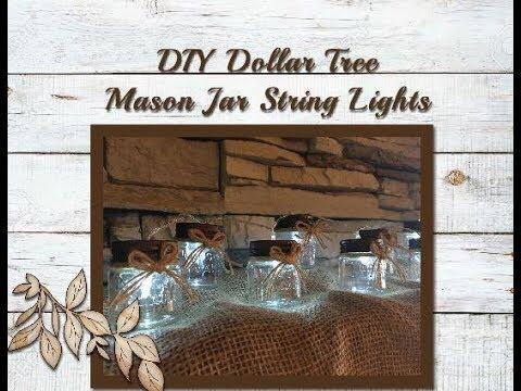 DIY Dollar Tree Mason Jar String Lights - YouTube #dollartreecrafts