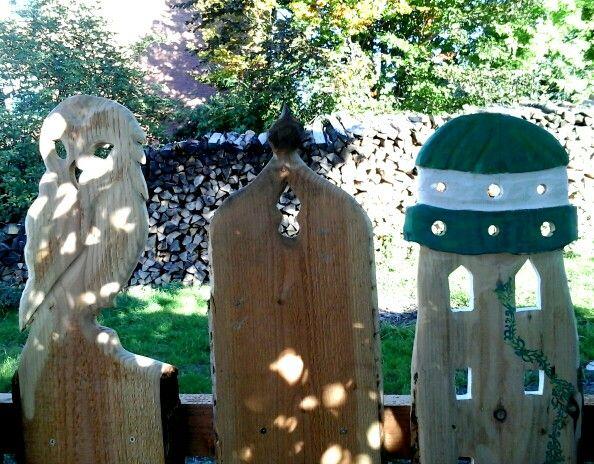 Holz Zaun Latten Eule Turmchen Gartendeko Holz Pinterest