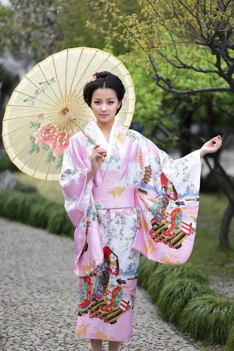 red pink blue Japanese Geisha clothing Vintage Kimono Costume Yukata Gown  Japanese Floral Robe . ff396193d