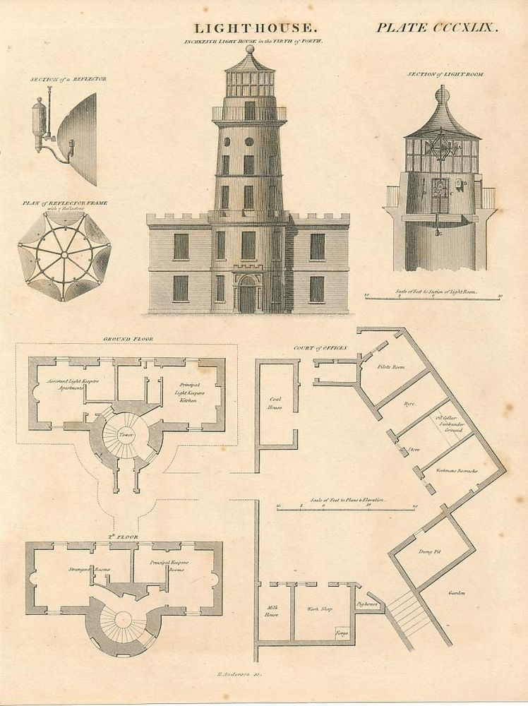 Inchkeith Lighthouse Elevation Plan C 1820 Antique Engraved Architecture Print Architectural Prints Lighthouse Architecture