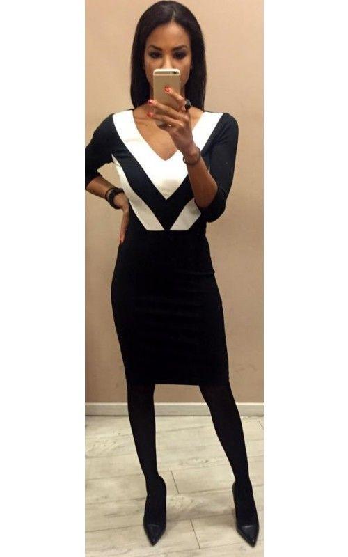 ff75d8abef Envy mell részén fehér betétes fekete ruha | envy fashion ekkor ...