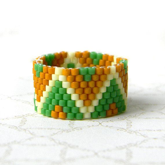 Beaded ring peyote ring seed bead jewelry delica by Anabel27shop