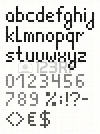 kruissteek engels alfabet met cijfers en symbolen. kleine letters