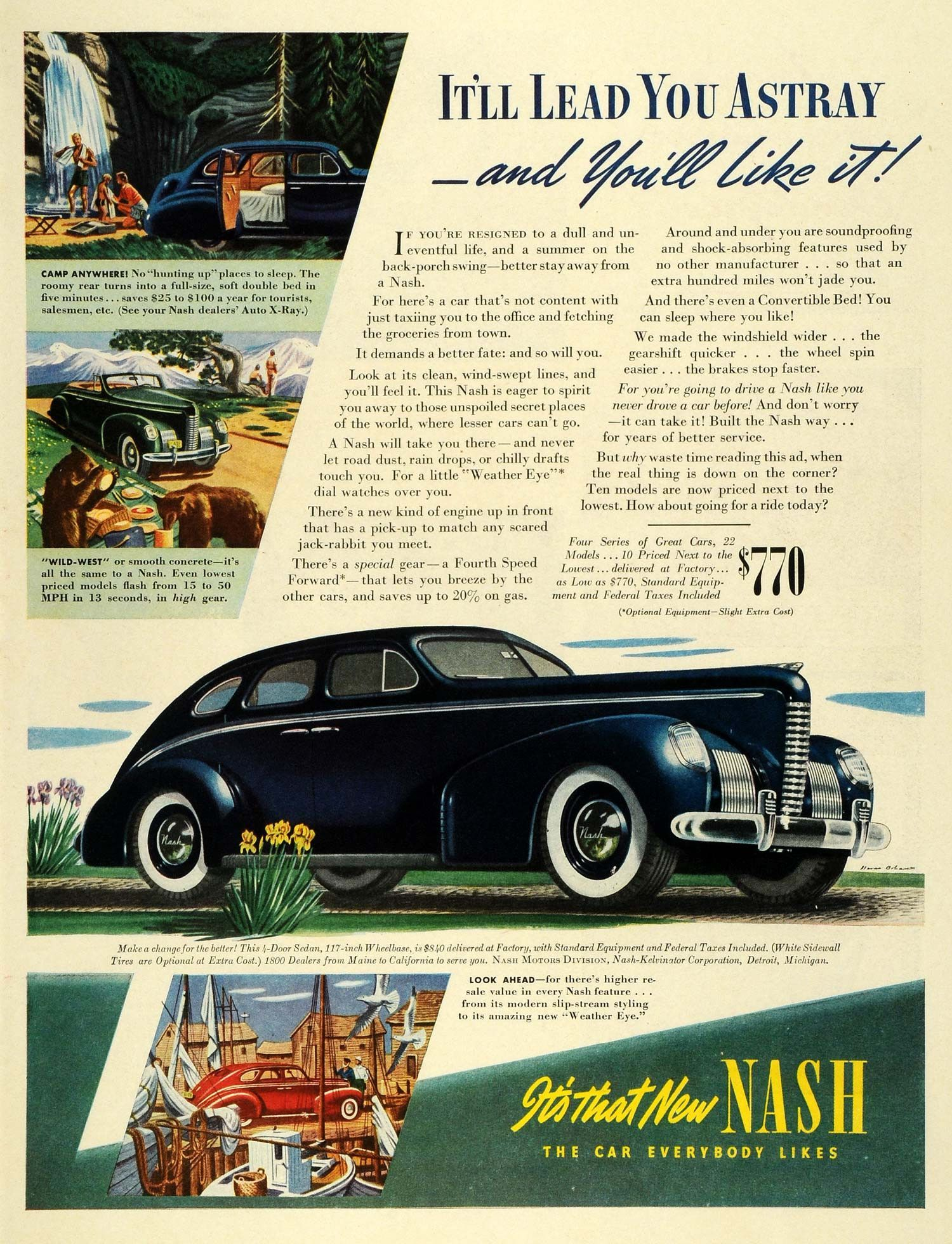 1939 Ad Vintage Nash Kelvinator Sedan Convertible Car Specifications ...