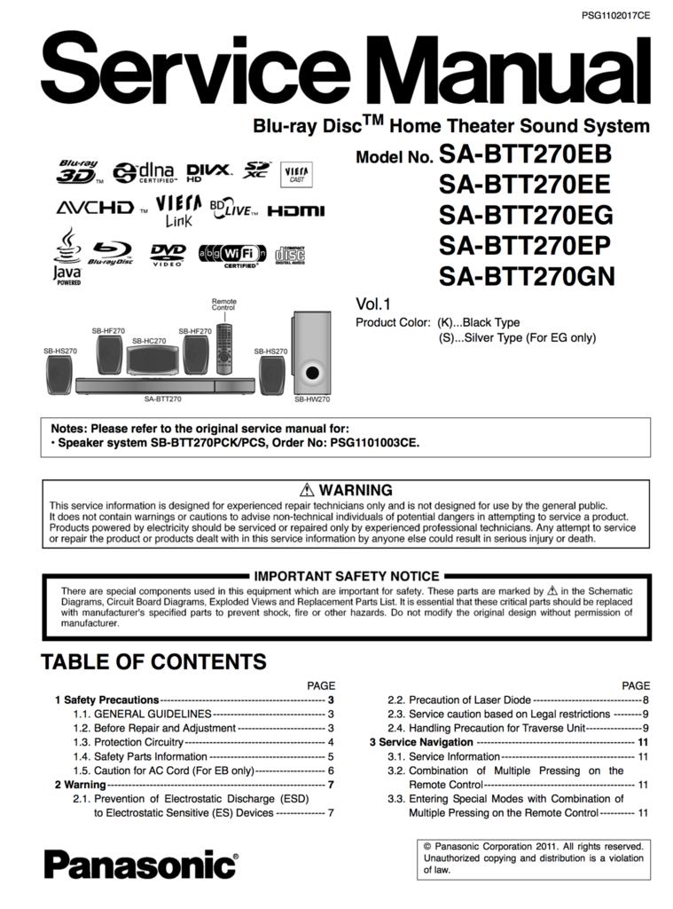 Panasonic Sabtt270 Service Manual Complete Home Theater Sound System Panasonic Manual