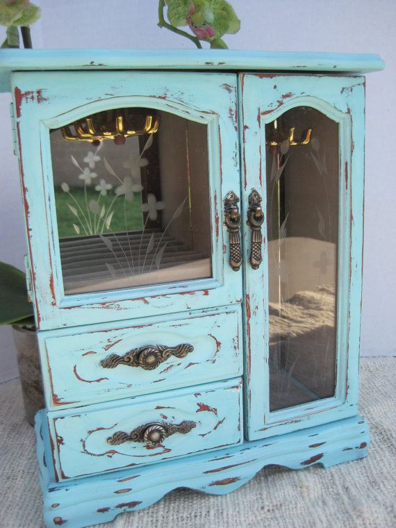 Cute Chalk Painted Turquoise Distressed And Sealed With