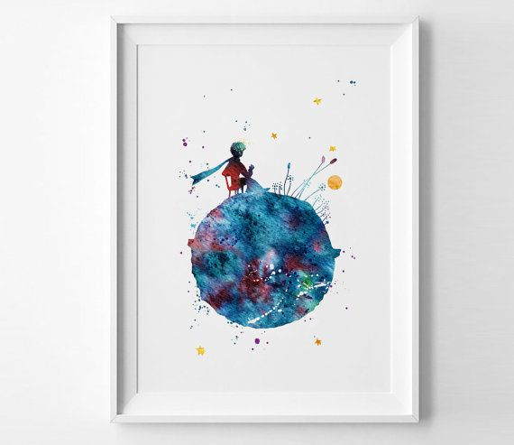 The Little Prince Aquarel Print Le Petit Prince Art Etsy In 2020 Watercolor Print Free Art Prints Paintings Art Prints