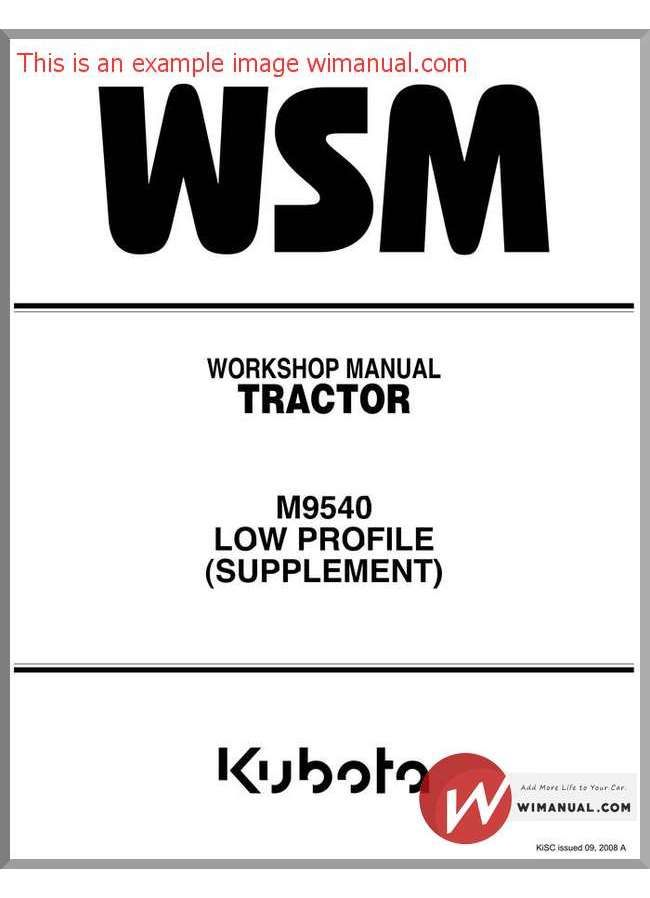 Kubota Tractor M9540 Low Profile Workshop Manual pdf download. This on