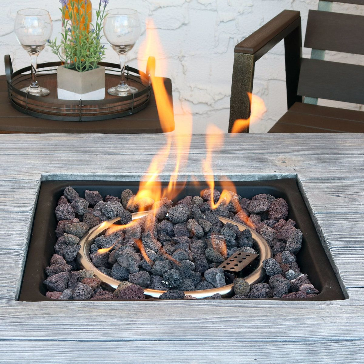 Sunnydaze Outdoor 30 Inch Square Propane Gas Fire Pit