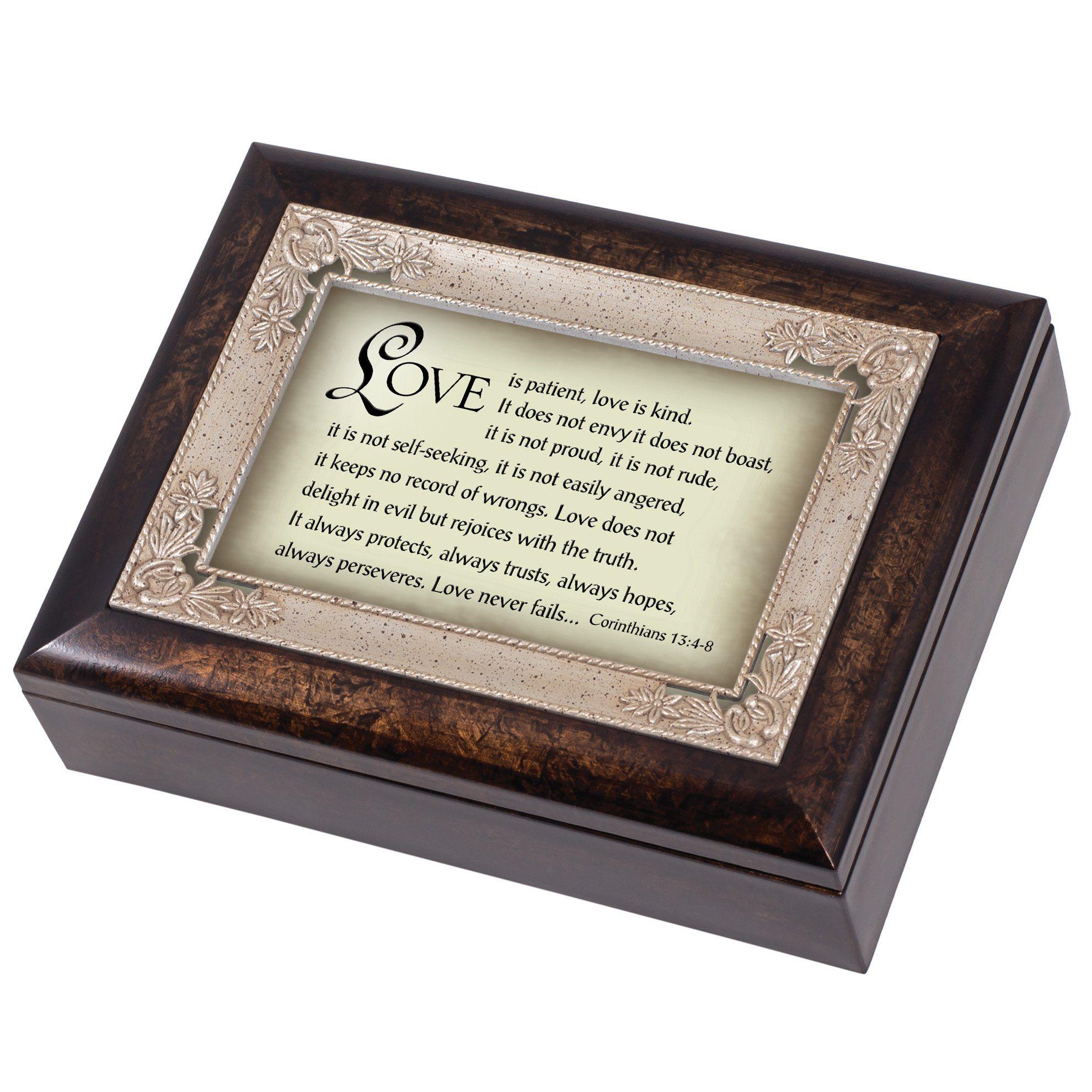 Love is Patient 1 Corinthians 13 Dark Wood Finish Jewelry Music Box Plays Tune Amazing Grace