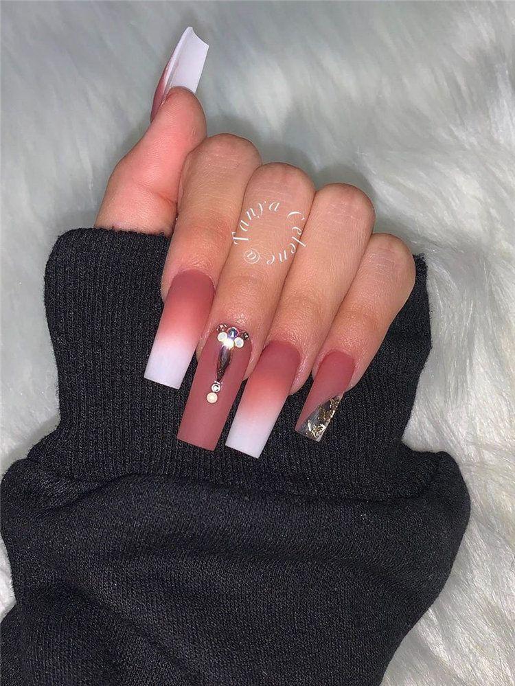 60 Winter Square Nail Art Designs Ideas To Copy Now Long Square Acrylic Nails Square Nails Square Nail Designs