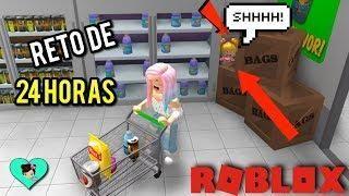 24 Horas En El Supermercado Reto Con Titi Juegos Y Goldie En Roblox