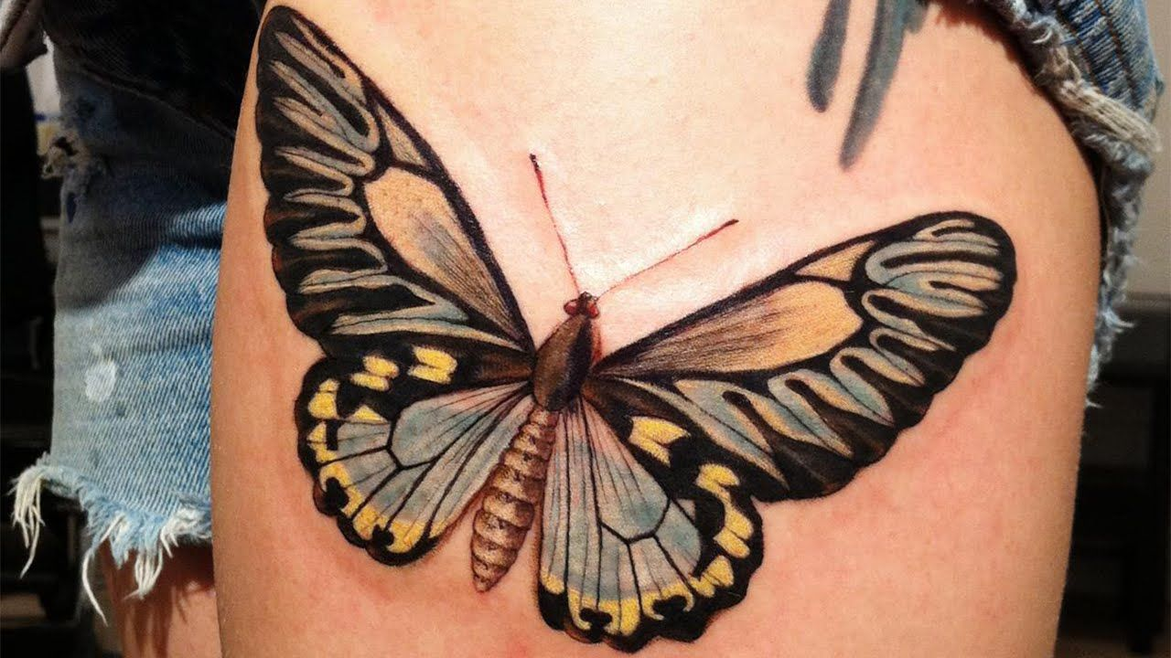 750776d22 Butterfly Tattoo Designs on Women - Insane Tattoo Products - YouTube Thigh Tattoo  Designs, Thigh