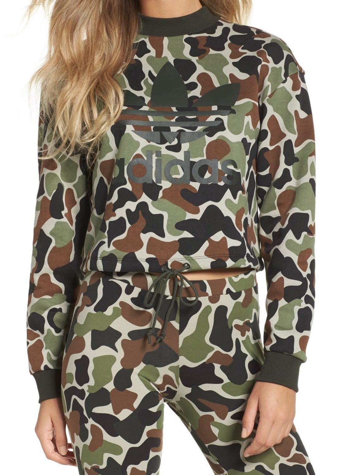 Predownload: Size Large Cropped Top With A Black Drawstring At Bottom Cowl Neck With Matching Sweat Pants Worn Once Crop Sweatshirt Camo Print Adidas Camo [ 1526 x 1124 Pixel ]