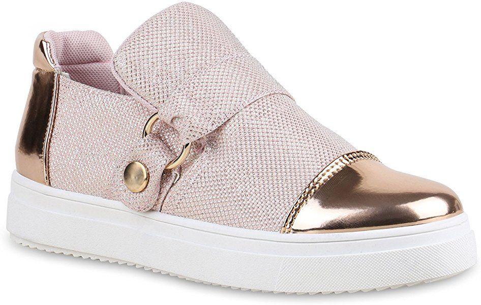 Slip Ons Damen Schuhe Lack Sneakers Glitzer Slipper Metallic