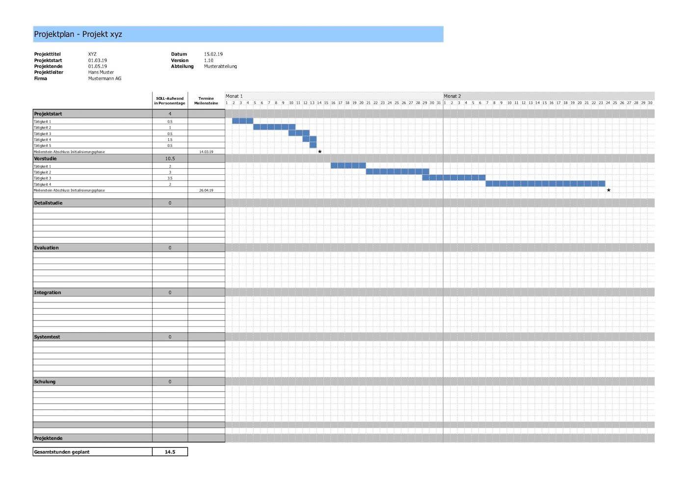 Projektplan Vorlage Im Excel Format In 2020 Projektplan Vorlage Vorlagen Planer