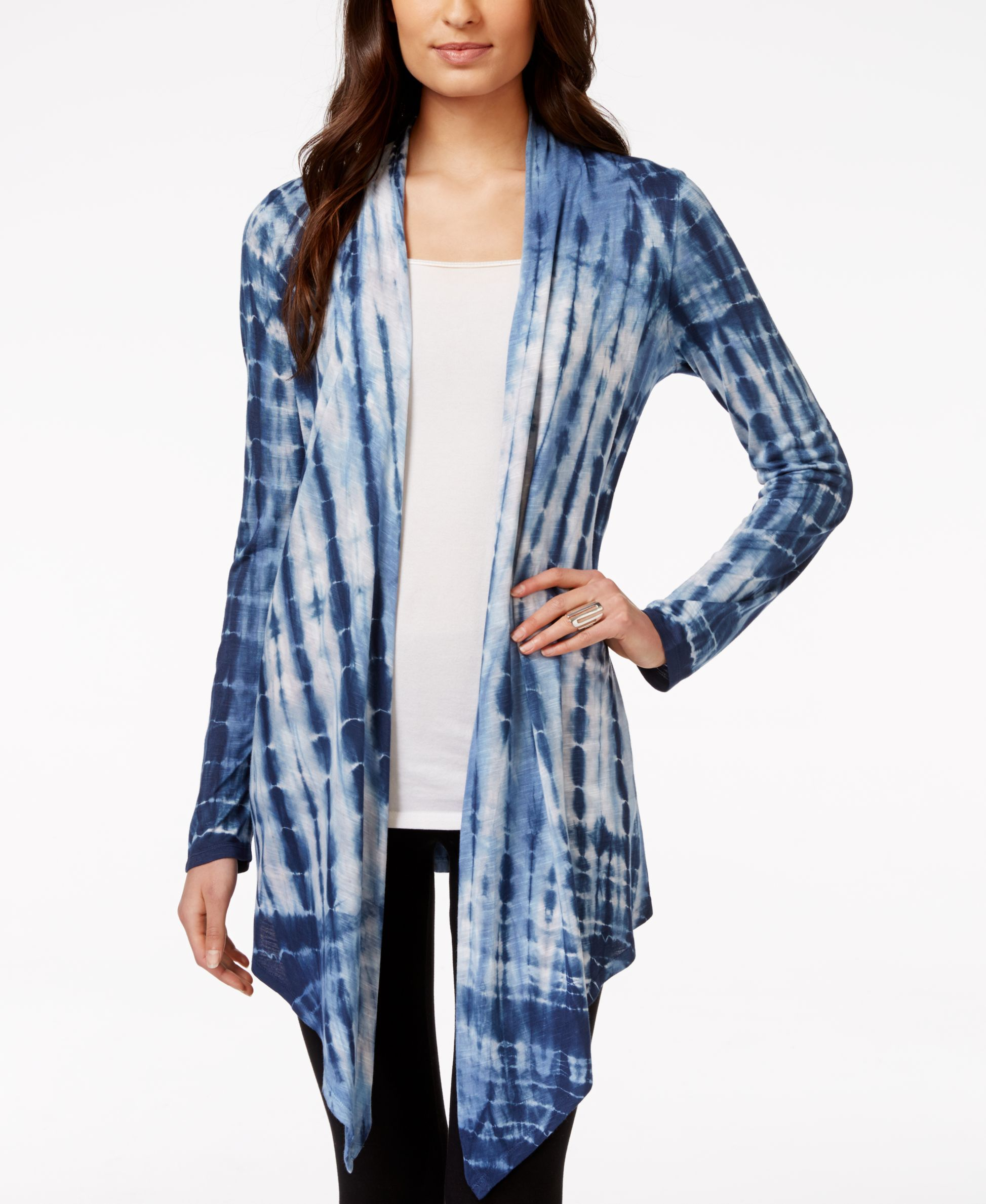 Style & Co. Sport Tie Dye Waterfall Cardigan, Only at Macy's ...
