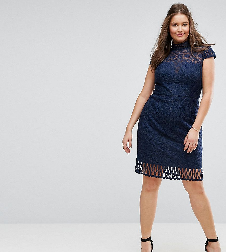Cap Sleeve Lace Pencil Dress in Cutwork Lace and High Neck - Navy Chi Chi London Plus 4T30E6u