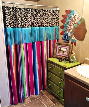 Serape Leopard Amp Fringe Shower Curtain Rustic Rose