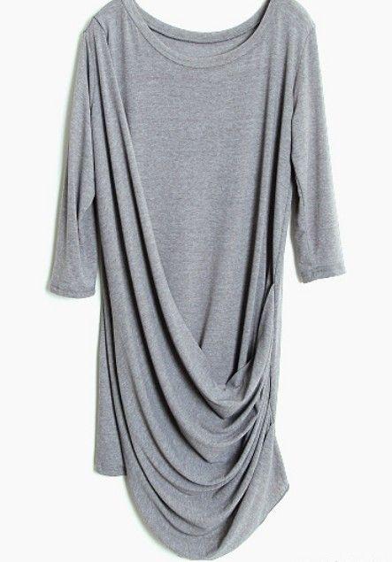 efdc0337 Grey Half Sleeve Pleated Loose Dress | beautiful clothes | Fashion ...