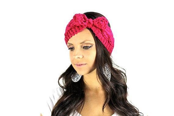 Crochet knot turban head wrap, boho headwrap, bohemian headband