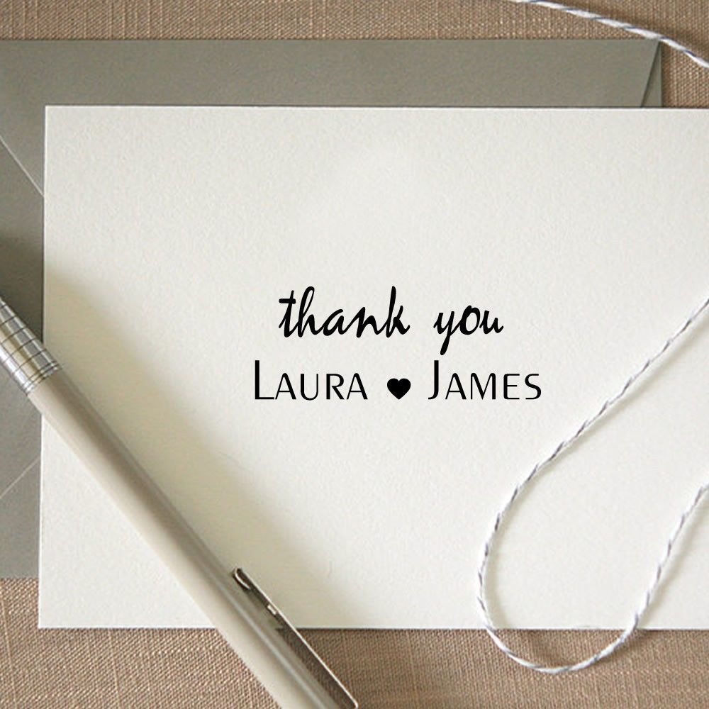 Personalized Custom Handle Mounted Rubber Stamp Thank You Card ...