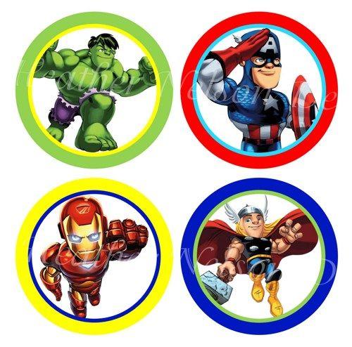 Super hero squad digital cupcake topper and sticker circles you print