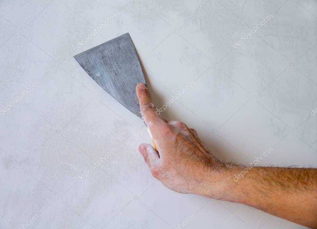 Plastering Man Hand Plaste Plaster Spatula Trowel Wall - Stock Photo , #sponsored, #Plaste, #Plaster, #Hand, #Plastering #AD