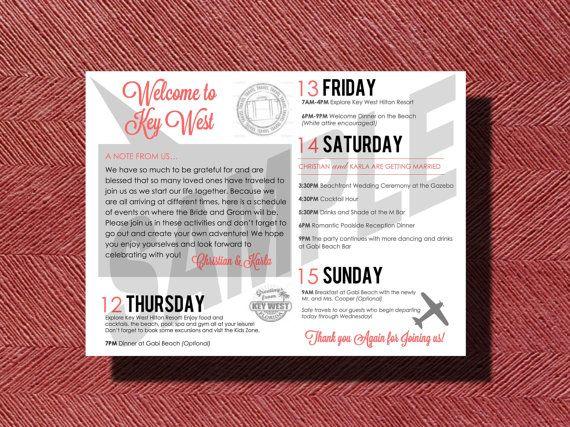 #KeyWest #Florida #Destination #Wedding Welcome Sheet Weekend #Itinerary by WeddingsByJamie, $35.00