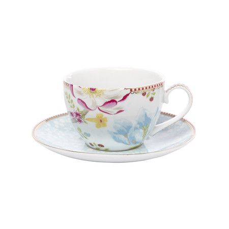 Pip Cup And Saucer Cuccino Chinese Garden White
